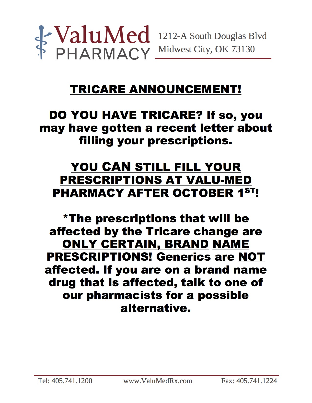 ValuMedPharmacyTricareAccouncement